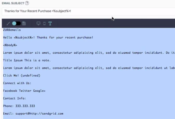 自動生成されたテキストメールのサンプル
