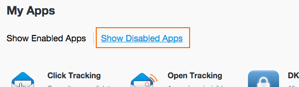 Show Disabled Apps をクリックして、有効化されていないものを表示