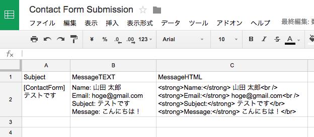 メールデータが投入されたスプレッドシート