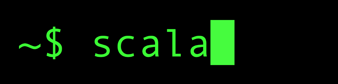 scalaという文字列が入力されたコンソール画面