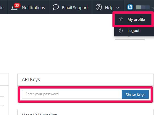 YBIのAPI Keyを確認する