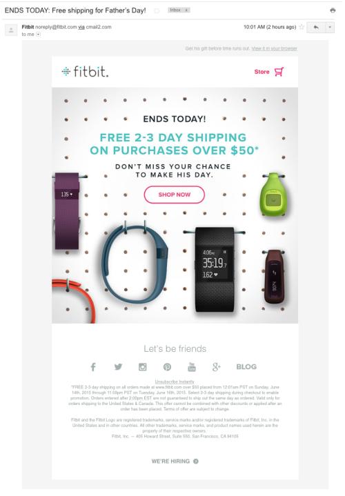Fitbitが配信したメール