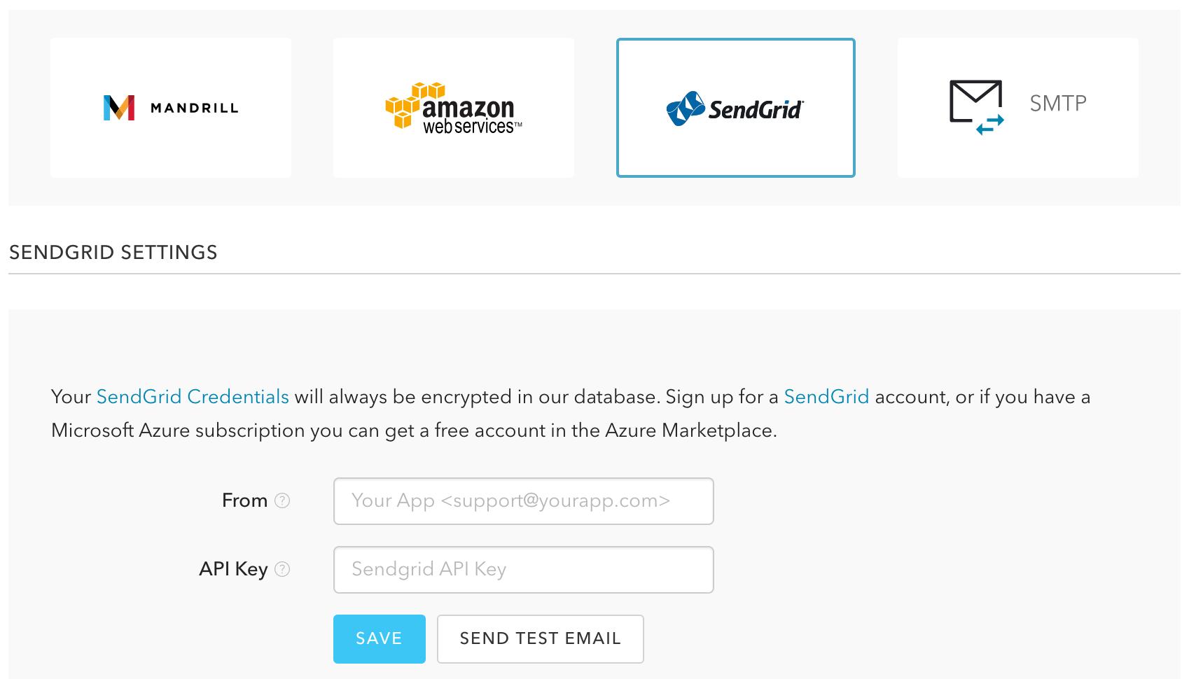メールプロバイダとしてSendGridを有効化する