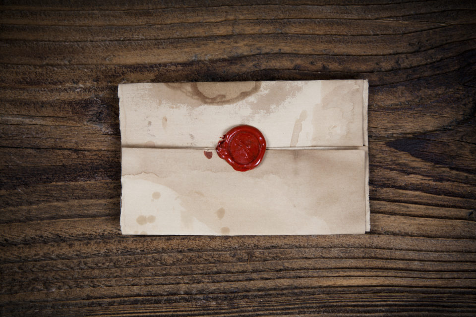 Envelope with sealing wax.