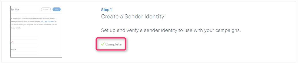 Step1 Create Sender Identify Finished