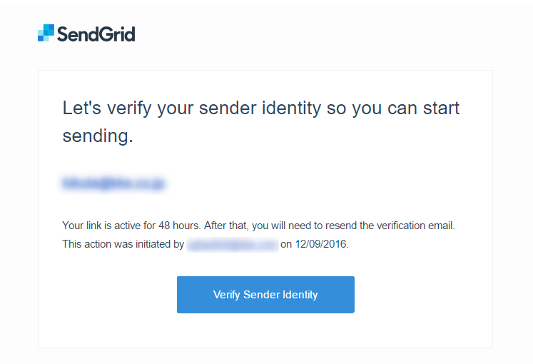 Please Verify Your Sender Identityメール