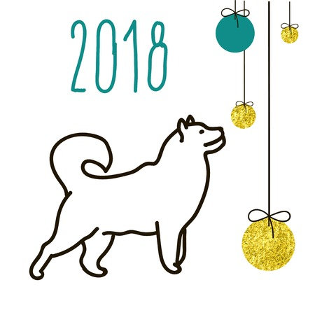 89520912 - dog is a symbol of the 2018 chinese new year. design for greeting cards, calendars, banners, posters, invitations.