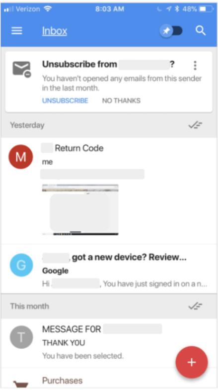 30日間開封しなかった場合のGmailの表示