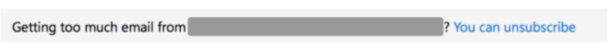 unsubscribeリンクをクリックした際の表示