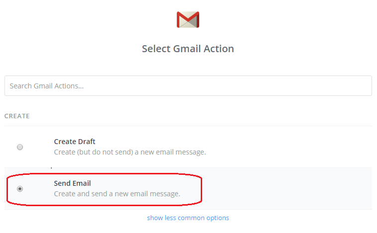 Action Appで「Gmail」の「Send Email」を選択