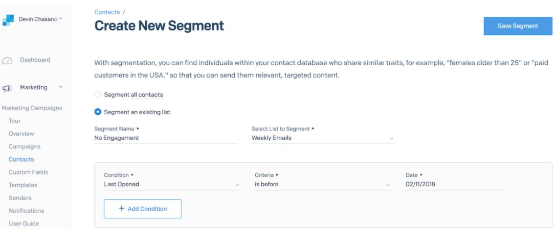 「No Engagement」セグメントの作成