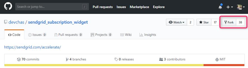 GitHubでSubscription WidgetをFork