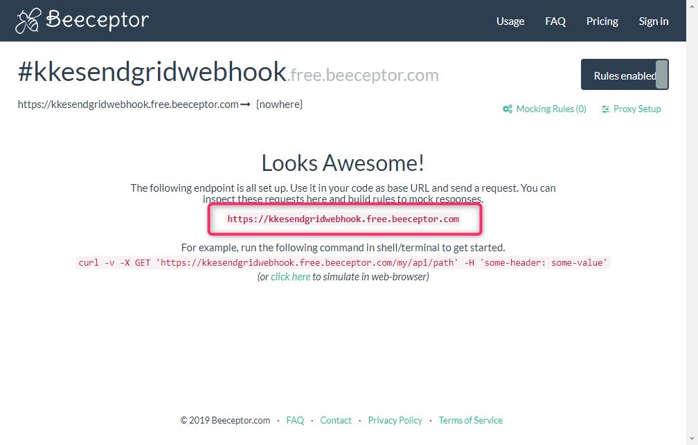 Beeceptorの画面