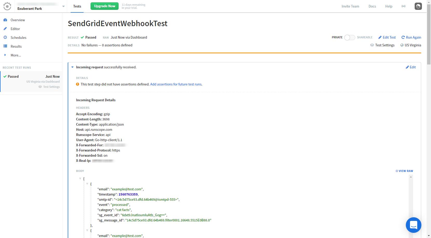 Event Webhookのダミーイベントが受信できたら成功