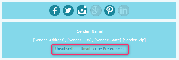 「Unsubscribe」「Unsubscribe Preferences」