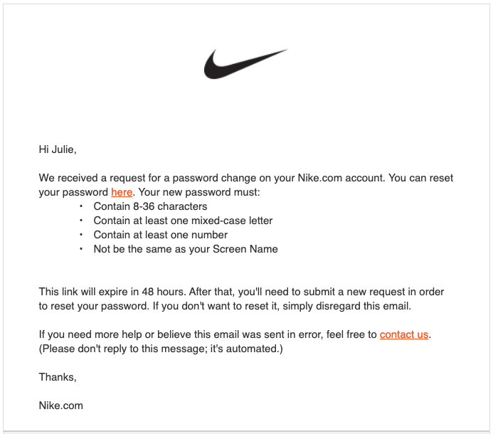 Nikeからのメール