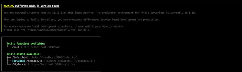 twilio serverless:start コマンドを実行