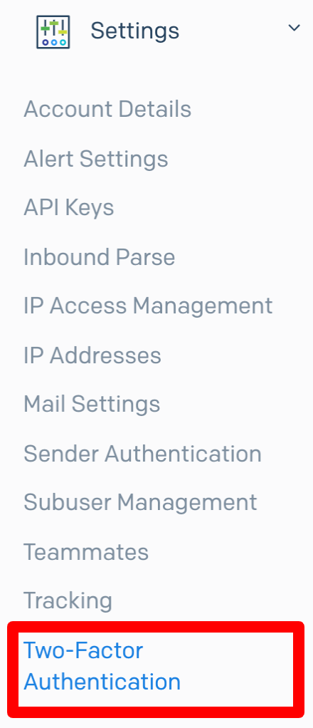 「Settings > Two-Factor Authentication」を選択