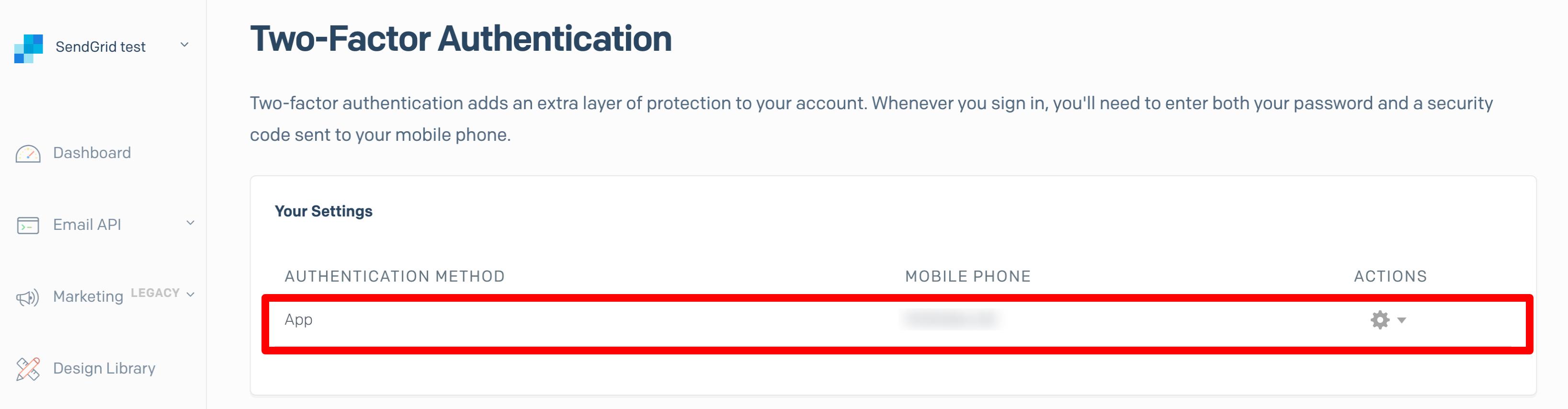 「App」と電話番号が表示された行が追加